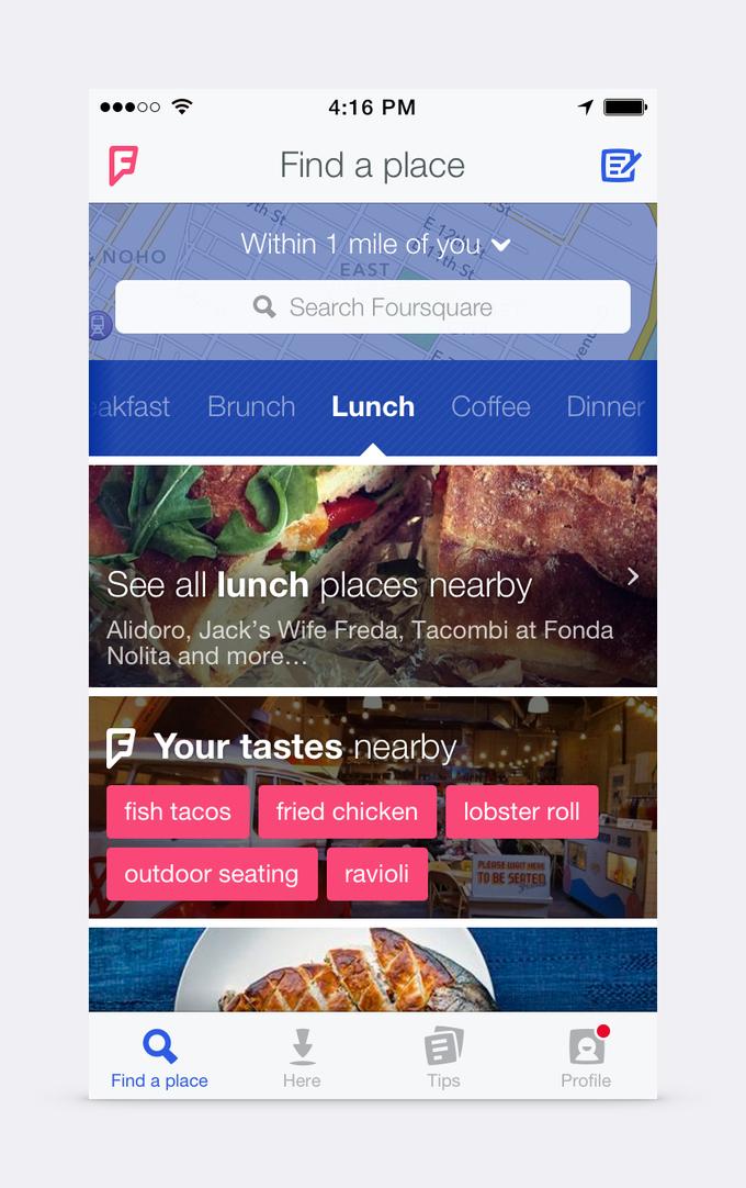 Foursquare показал редизайн логотипа и скриншоты нового приложения . Изображение № 3.