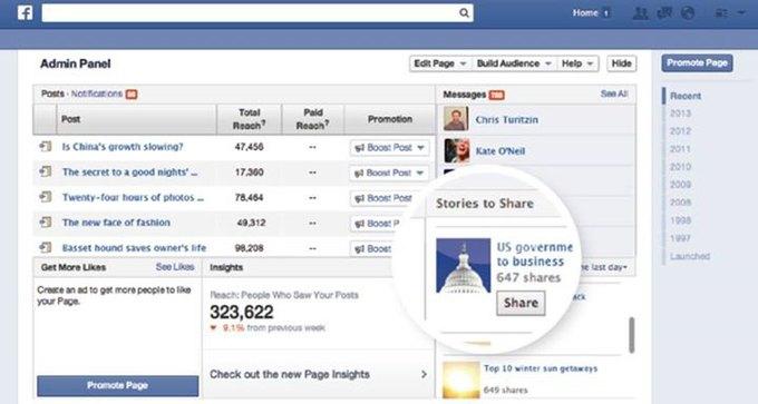 Facebook будет рекомендовать ссылки для публикации. Изображение № 1.