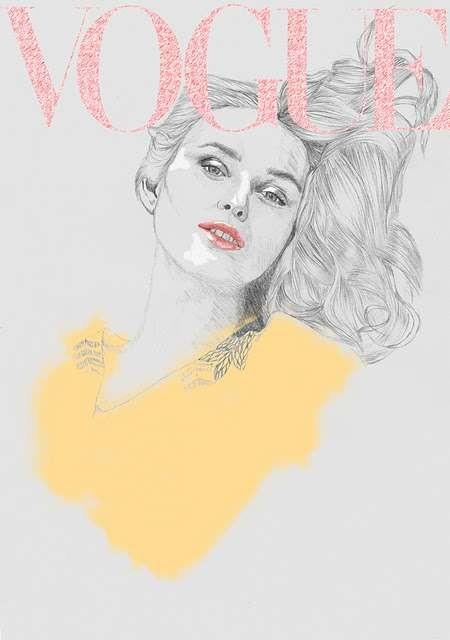 Vogue Covers: знаменитая Hazel Castle нарисовала журнал карандашом. Изображение № 3.