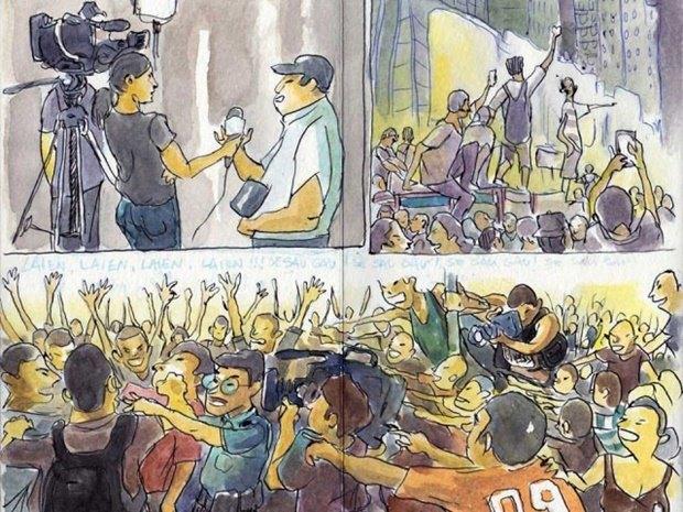 Художник представил скетчи о протестах в Гонконге. Изображение № 6.