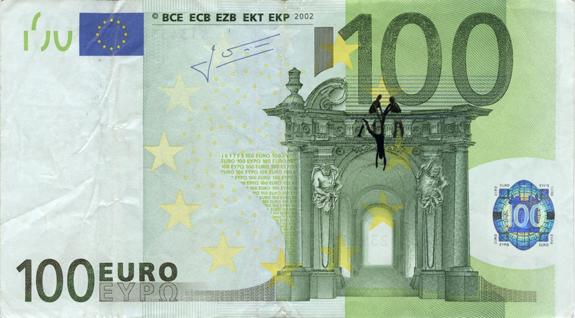 Художник в знак протеста изрисовал банкноты на 3555 евро. Изображение № 45.