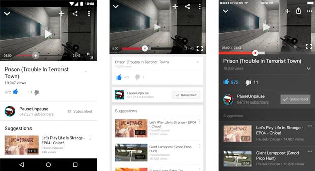 Просмотр видео в приложении YouTube для Android (слева), iPhone (по центру) и для iPhone в версии автора. Изображение № 5.