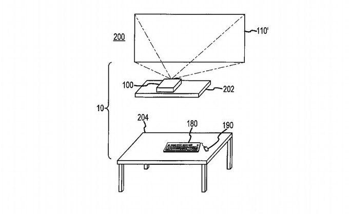 Apple запатентовала беспроводной компьютер-проектор. Изображение № 1.