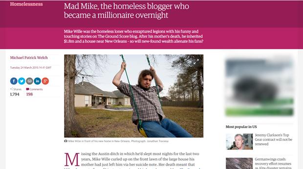 The Guardian рассказал о получившем $1,8 млн бездомном блогере. Изображение № 1.
