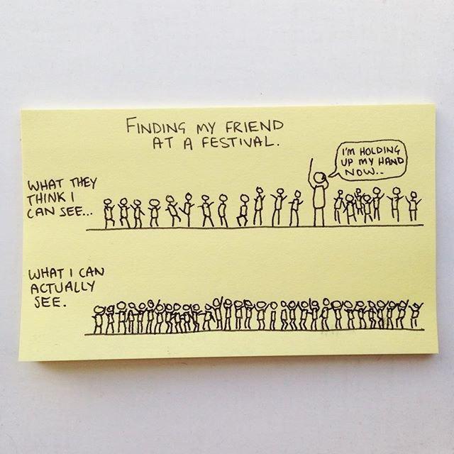 «Поиск друзей на фестивале»: «Как они это видят», «Как это на самом деле выглядит». Надпись в пузыре — «Я поднял руку». Изображение № 29.