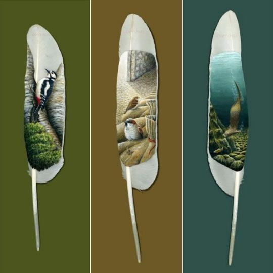 Рисунки на перьях от Ян Дави. Изображение № 5.