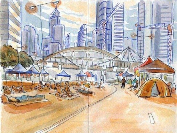 Художник представил скетчи о протестах в Гонконге. Изображение № 2.