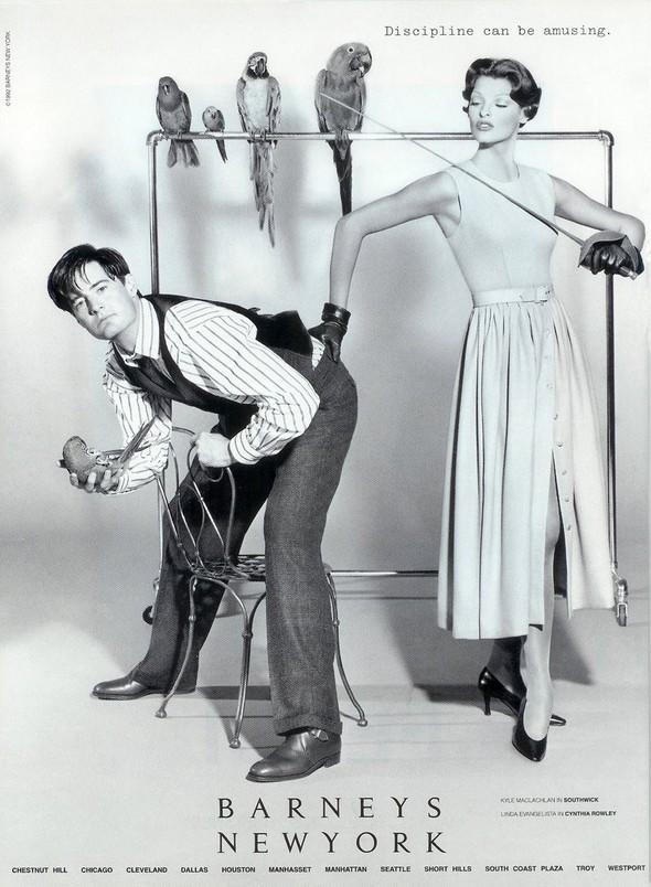 Архивная съёмка: Линда Евангелиста и Кайл Маклахлен для Barneys, 1992. Изображение № 6.