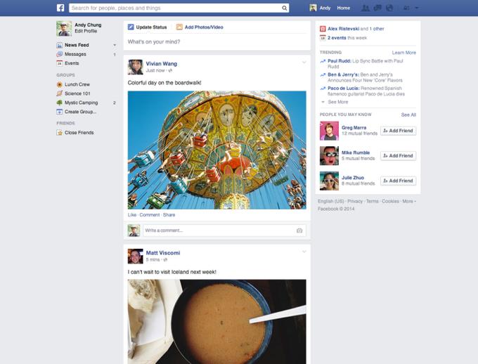 Так, по данным TechCrunch, будет выглядеть новый ньюс-фид Facebook. Изображение № 1.