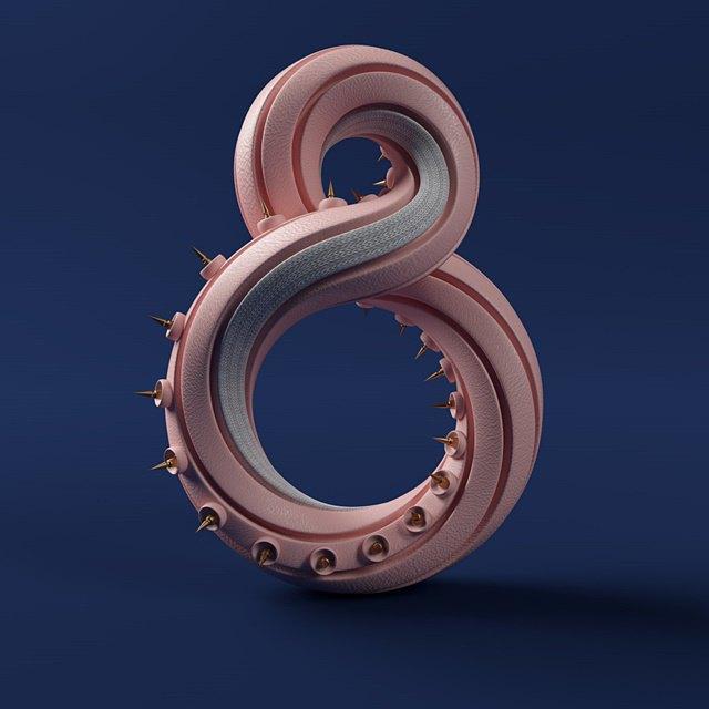 Дизайнер создал абстрактные объекты на основе цифр. Изображение № 9.