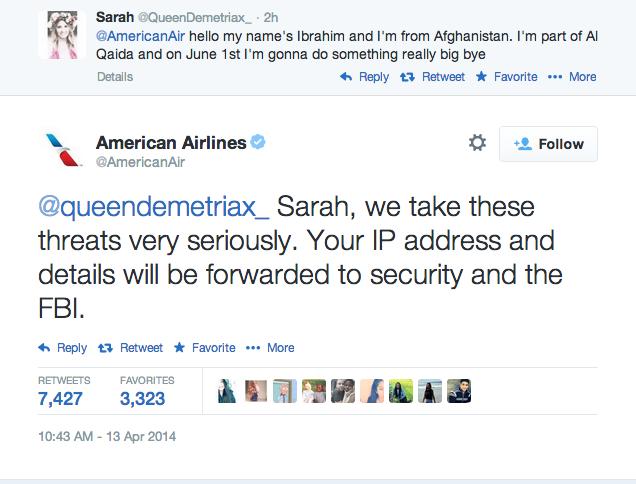Пользователи Twitter угрожали American Airlines из-за ареста 14-летней девочки. Изображение № 1.