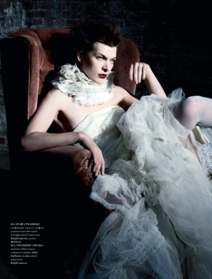 Mila Jovovich. Harper's Bazaar, sept-2009. Изображение № 4.