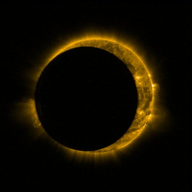 Частичное солнечное затмение сняли со спутника. Изображение № 1.