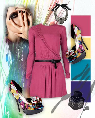 Look color Весенний позитив требует яркости и света. Смелый и жизнерадостный тандем для незабываемого вечера — пестрые туфли на шпильке и лиловое платье. Декоративный цветок и высокие каблуки придают любой девушке женственный и привлекательный вид, идеально подчеркивая насыщенный цвет платья. Прочь грусть и тоску - больше яркости и разнообразия! . Изображение № 3.