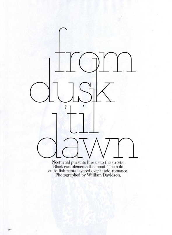 From Dusk Till Dawn Vogue Australia, November 2009. Изображение № 1.