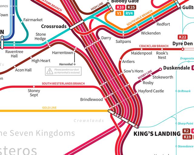 Дизайнер создал схему метро для мира «Игры престолов». Изображение № 4.