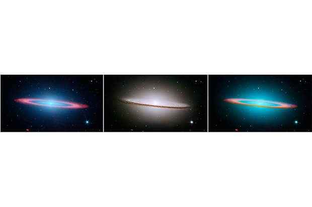 Фотографию галактики Сомбреро (справа) составили из снимка с Hubble (слева) и Spitzer (по центру). Изображение № 3.