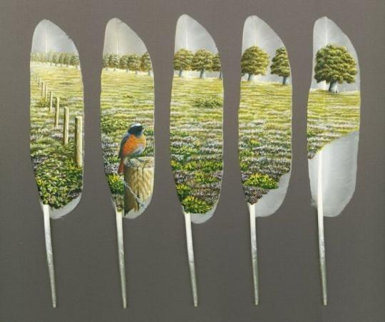 Рисунки на перьях от Ян Дави. Изображение № 4.