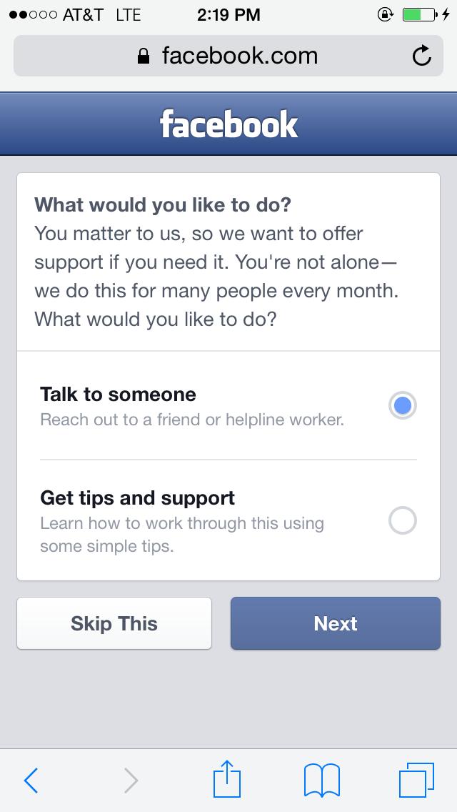 Facebook добавит опции для помощи при мыслях о суициде. Изображение № 2.