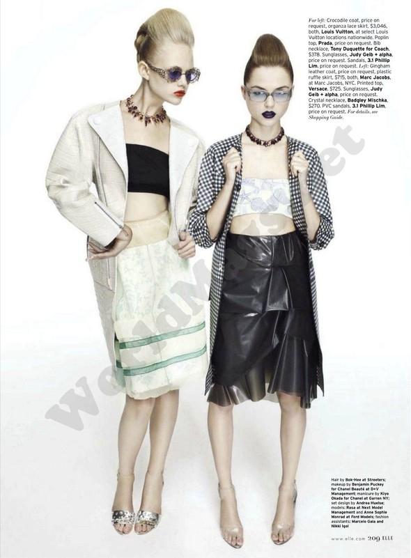 Съёмка: Раза Зукаускайте и Анне Софи Монрад для Elle. Изображение № 8.