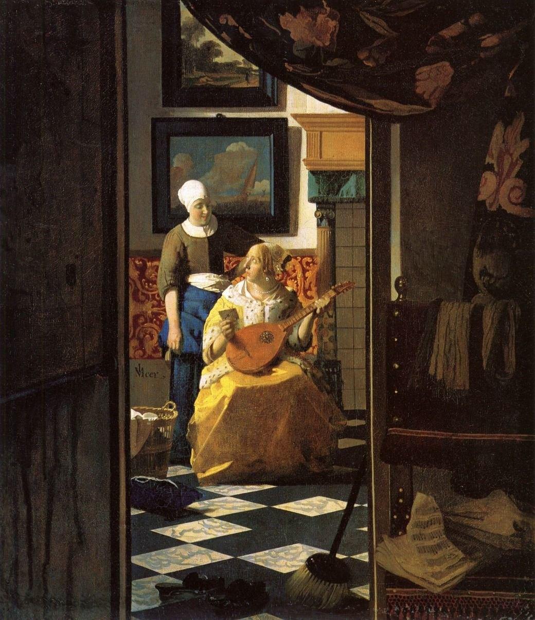 слева направо: Tанец, Анри Матисс, 1909-10; Любовное письмо, Ян Вермеер, 1670. Изображение № 17.