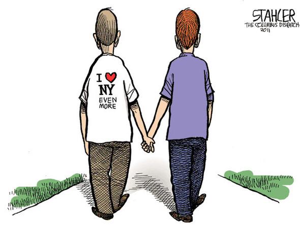 Нью ЛГБТ-Йорк: художники-карикатуристы о легализации однополых браков. Изображение № 4.