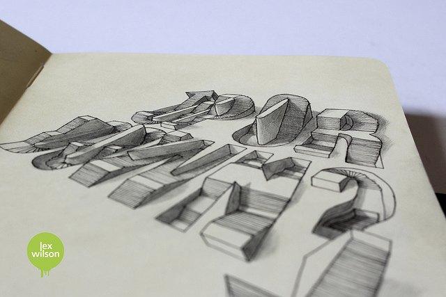 Иллюстратор рисует трёхмерные шрифты . Изображение № 11.