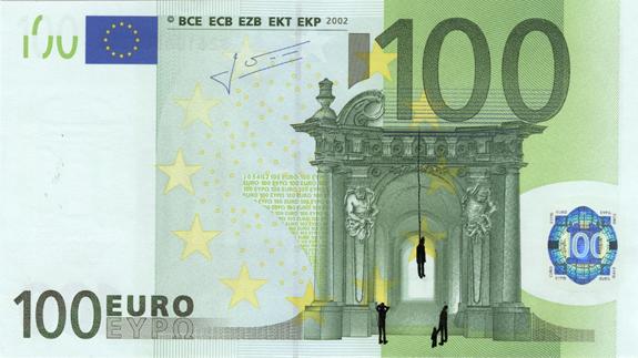 Художник в знак протеста изрисовал банкноты на 3555 евро. Изображение № 40.