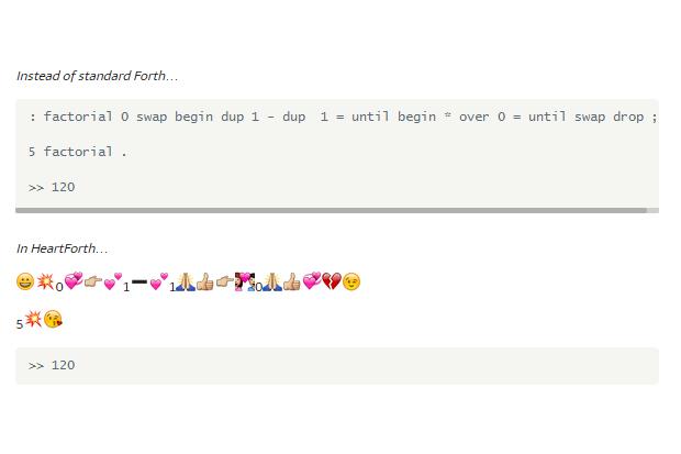Пример кода на Forth, который перевели на HeartForth . Изображение № 1.