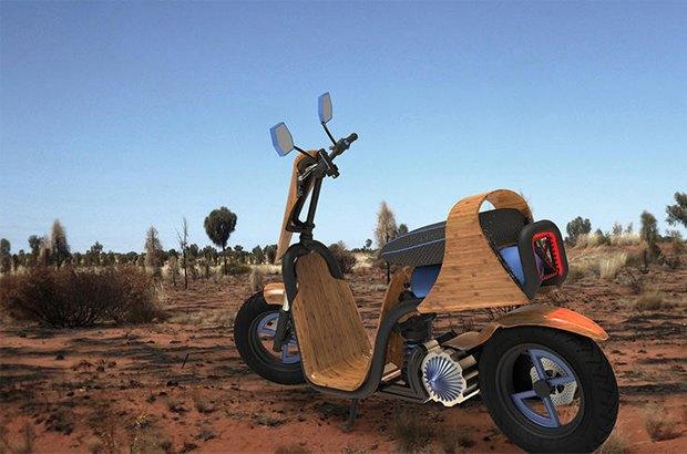 Деревянный скутер Ecomoto работает на воздухе. Изображение № 1.