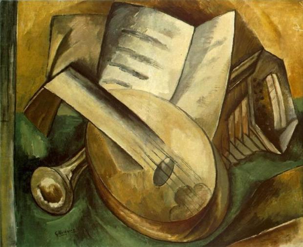 Натюрморт с музыкальными инструментами, Жорж Брак, 1908. Изображение № 1.