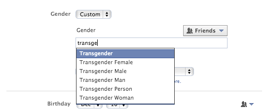 В Facebook появится 50 вариантов графы «пол». Изображение № 1.