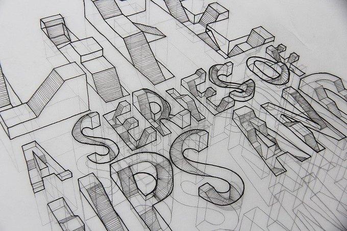Иллюстратор рисует трёхмерные шрифты . Изображение № 5.