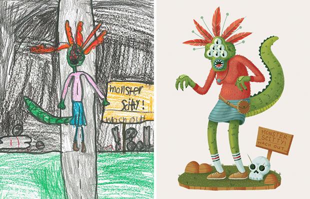 Художники создали монстров наоснове детских рисунков. Изображение № 5.