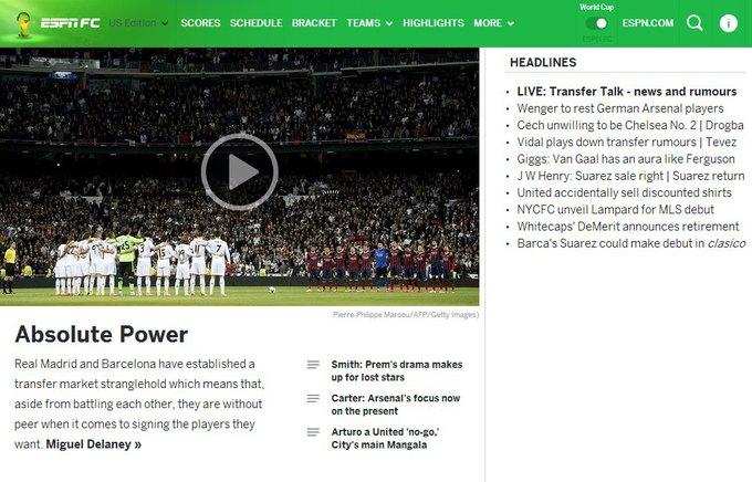 Футбольный сайт ESPN FC планирует запустить свою российскую версию. Изображение № 1.
