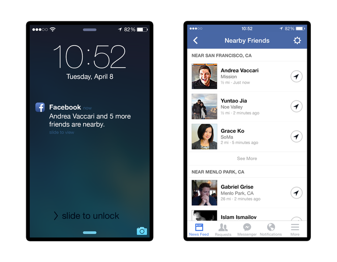Мобильное приложение Facebook покажет друзей поблизости . Изображение № 2.