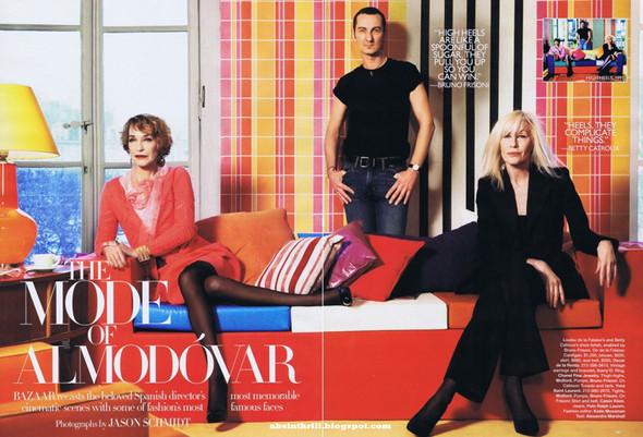 """Harpers Bazaar, съемка The Mode of Almodóvar по мотивам фильма """"Высокие каблуки"""" - Бетти Катру в костюме YSL. Изображение № 220."""