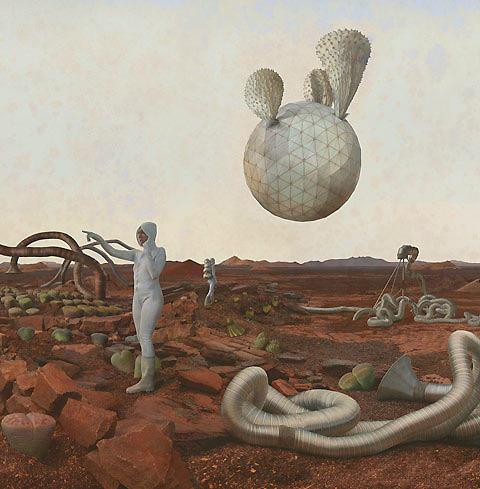 По просьбе NASA художники изобразили жизнь первых женщин на Марсе. Изображение № 4.