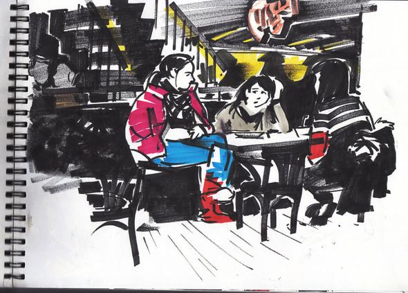 посетители кафе- лучшие модели для зарисовок. Изображение №1.