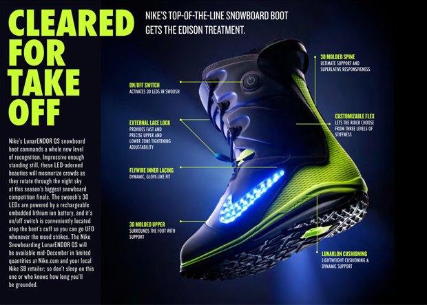 Nike выпустит светящиеся ботинки для сноубординга. Изображение № 1.