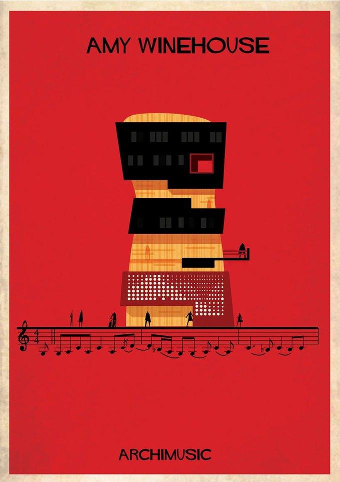 Испанский архитектор превратила песни в здания для новой серии плакатов . Изображение № 26.
