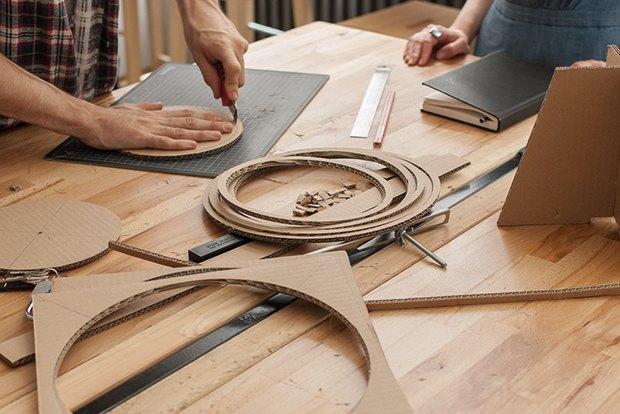 Как сделать из толстого картона абажур для лампы . Изображение № 19.