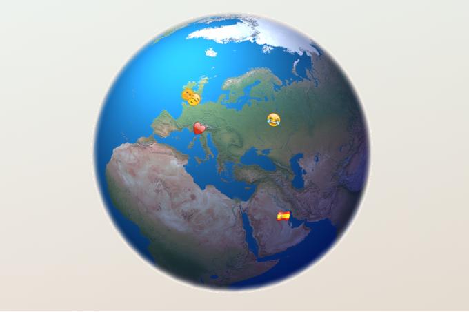 Разработчик создал интерактивную карту с трансляцией Emoji из Twitter . Изображение № 3.