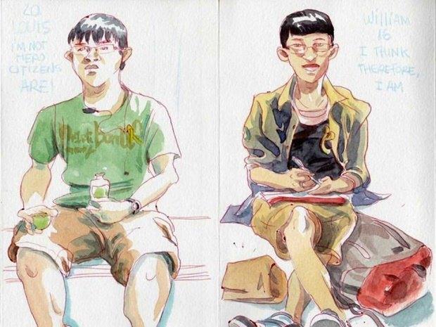 Художник представил скетчи о протестах в Гонконге. Изображение № 8.