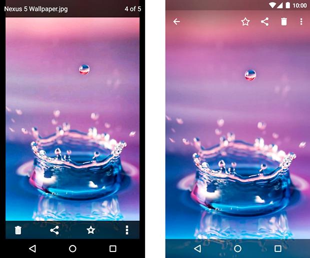 Просмотр файла в официальном Dropbox для Android (слева) и в концепте. Изображение № 9.