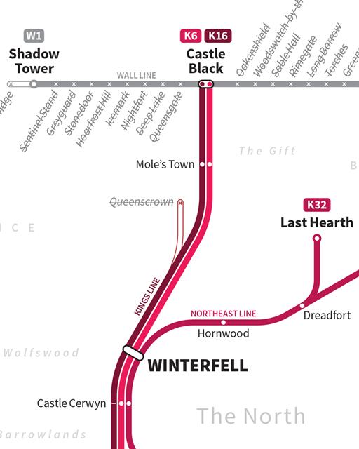 Дизайнер создал схему метро для мира «Игры престолов». Изображение № 5.
