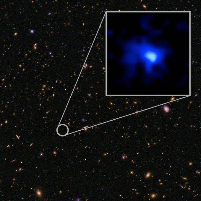 Учёные обнаружили самую дальнюю галактику от Земли . Изображение № 1.