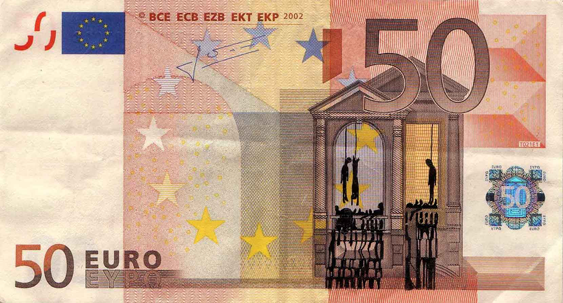Художник в знак протеста изрисовал банкноты на 3555 евро. Изображение № 26.