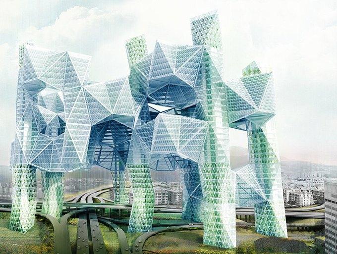 Архитектор предложила идею «объединяющих людей» небоскрёбов. Изображение № 1.