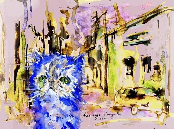 """Иллюстрация к стихотворению """"Голубой котенок"""". Изображение № 1."""